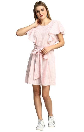 GALAXY TRENDZ Premium Frills Designer Pink White Dress