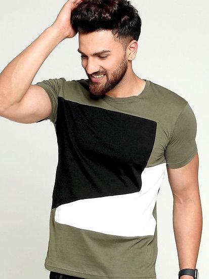 Flamboyant Men's Cotton Tshirt - Olive Green