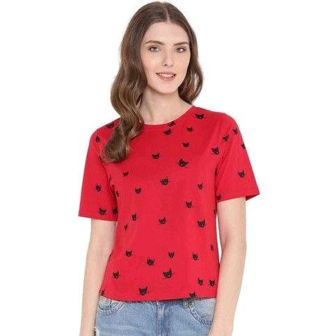 Flamboyant Premium Print Solid Cotton Tshirt - Red