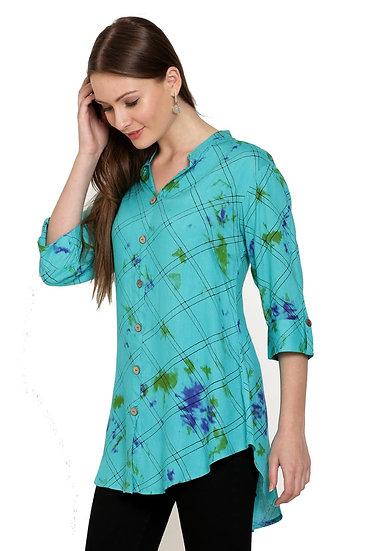 GALAXY TRENDZ Premium Designer Printed Long Top Cum Shirt - Rama Green