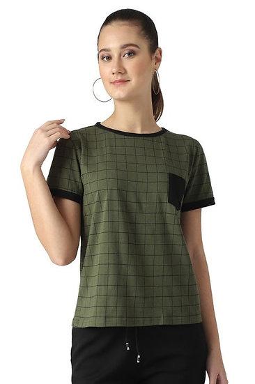 Flamboyant Block Print Cotton T-shirt - Green