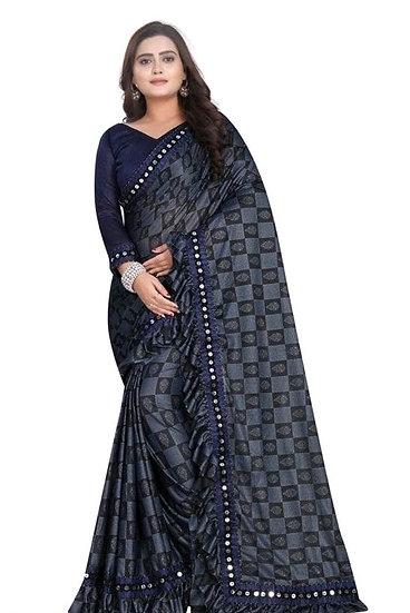 Exquisite Premium Printed Lycra Saree - Blue