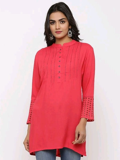 Fascinating Premium Rayon Embroidered Tunic - Pink