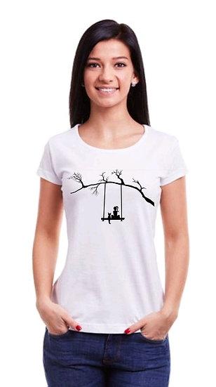 Flamboyant Solid Printed Cotton T-shirt - Swing Cat & Girl