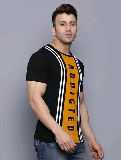 Fascinating Men's Cotton Round Neck T-shirt - Black & Yellow