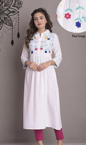 Beauteous Embroidered Straight Kurti - White