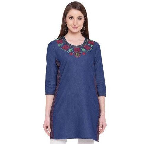 Premium Denim Designer  Tunic/Short Kurti - Embroidered