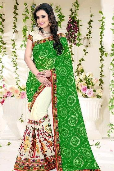 Gracious Half And Half Embroidered Bandhani Pallu Saree - Green