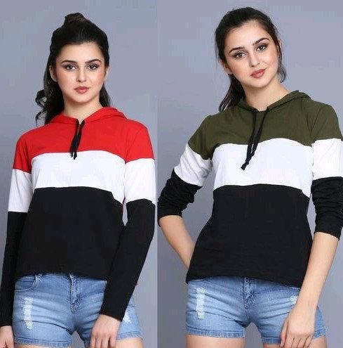 Comely Women Sweatshirt / Hoodies - Pack Of 2 - Green & Red