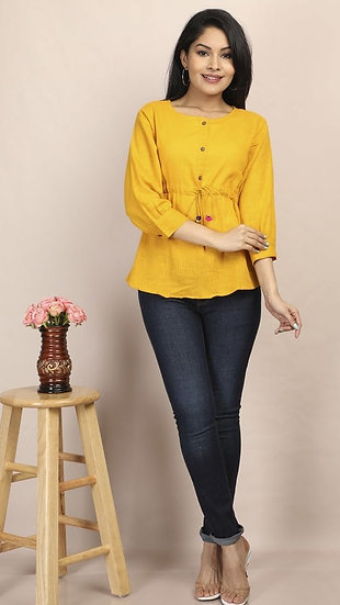 Gracious Designer Women's Cotton Top - Yellow