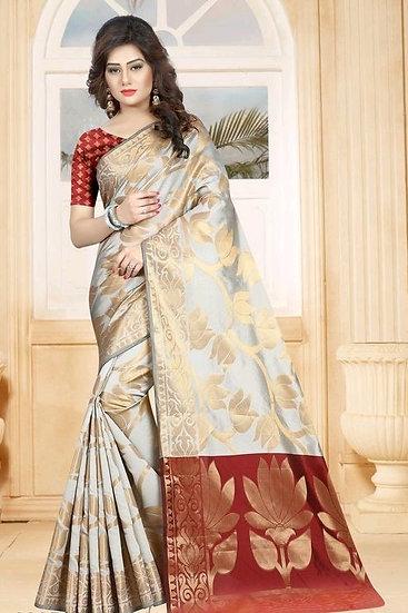 Comely Premium Zari Work Banarasi Silk Saree - Pattern 2