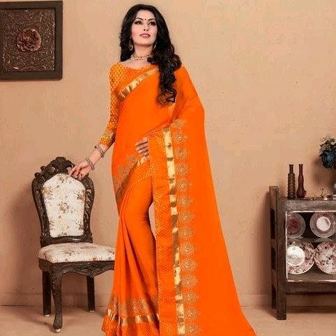 Comely Silk Chiffon Embroidered Saree - Orange