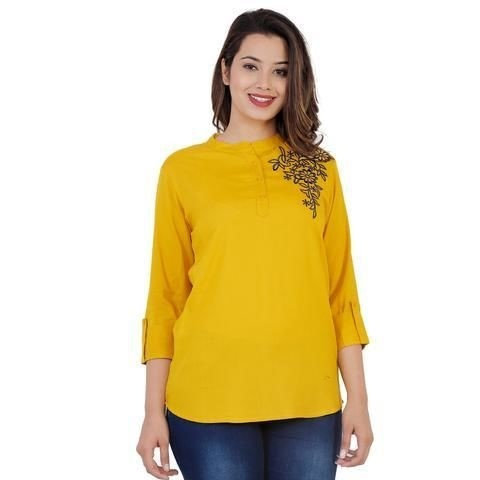 Wondrous Rayon Solid Embroidered Top - Yellow