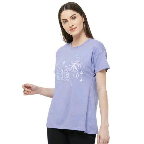 Disney Women Frozen Printed T-shirt with Drop-Shoulder Sleeves