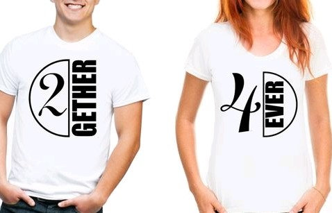 """Comely Couple Tshirts """"2gether & 4ever"""" - White"""