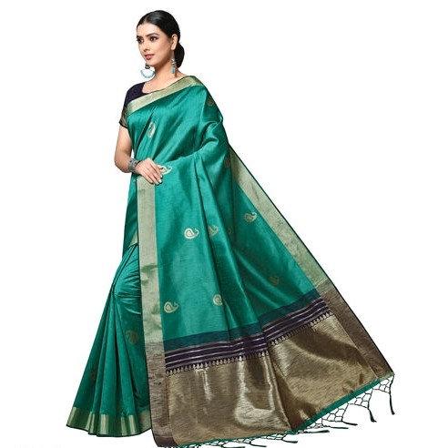 Comely Matka Silk Weaved Banarasi Saree - Bluish Green