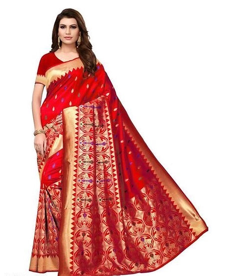 Comely Embroidered Georgette Saree - Red
