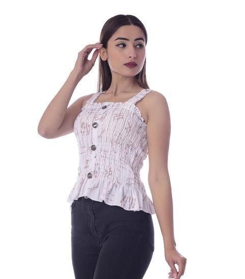 Sumptuous Phantom Lycra Sleeveless Top - White