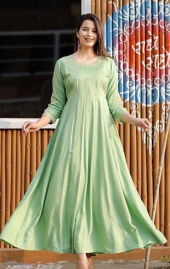 Beauteous Embroidered Long Kurti - Green