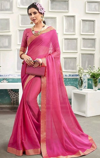 Sumptuous Chanderi Silk Solid Saree - Pink