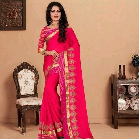 Comely Silk Chiffon Embroidered Saree - Pink