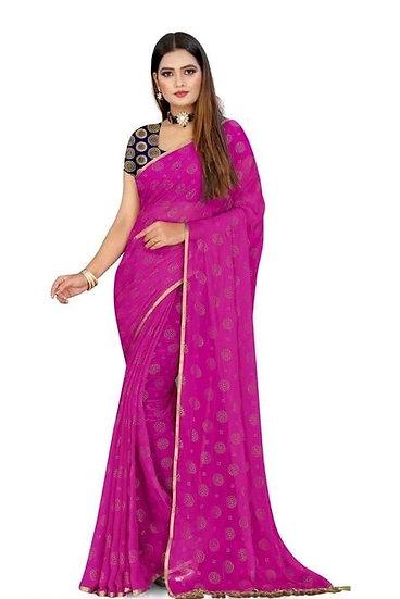 Beauteous Jacquard Chiffon Saree - Dark Pink