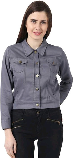 Sumptuous Solid Womens Short Jacket - Grey