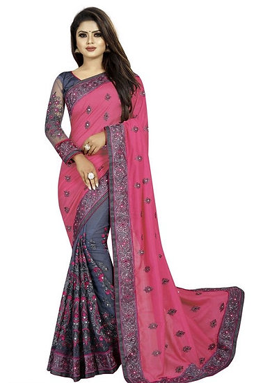 Gracious Georgette Saree With Bangalori Silk Blouse - Pink