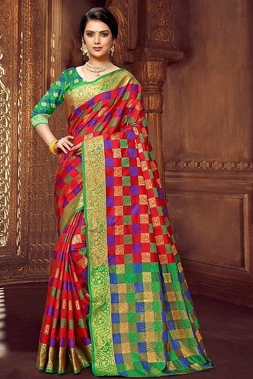 Wondrous Premium Kanjeevaram Silk Saree - Red