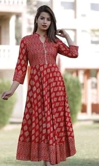 Gracious Printed Designer Long Kurti - Red