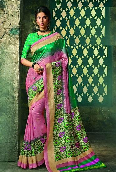 Ravishing Premium Printed Silk Saree - Green & Pink