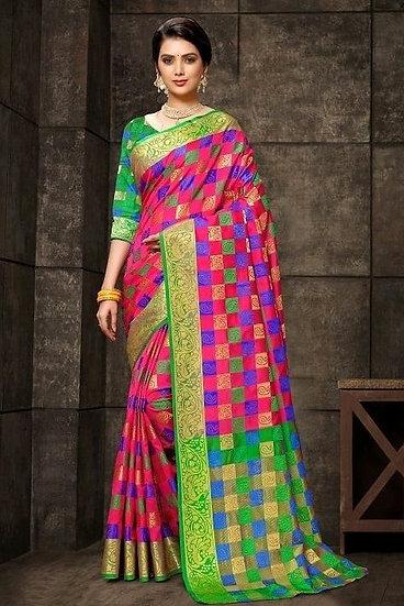 Wondrous Premium Kanjeevaram Silk Saree - Pink