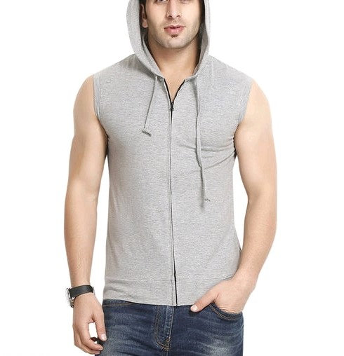 Premium Men's Sleeveless Hoody T-shirt - Grey