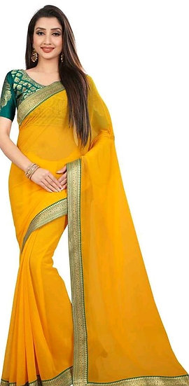 Comely Embellished Bollywood Chiffon Saree - Yellow