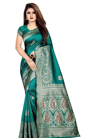 Wondrous Banarasi Art Silk Saree Green Color