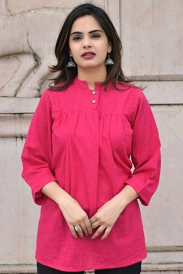 Exquisite Designer Cotton Top - Pink