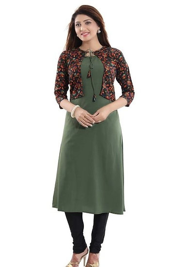Beauteous Crepe printed Kurti with Jacket - Green