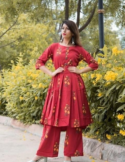 Comely Printed Cotton Kurti With Palazzo - Red