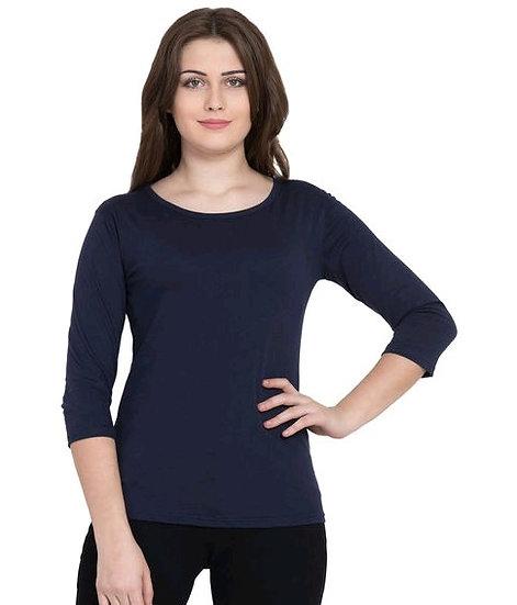Ravishing Pure Cotton Solid T-shirt - Blue