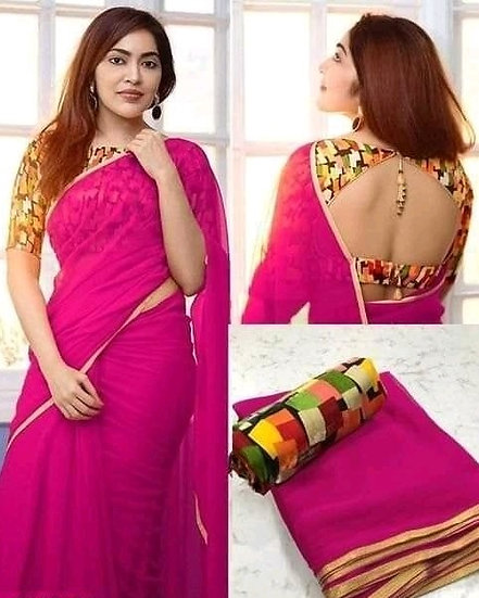 Wondrous Georgette Saree With Bangalori Silk Blouse - Pink