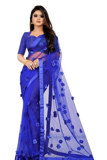 Wondrous Soft Net Saree With Flower Concept - B Blue