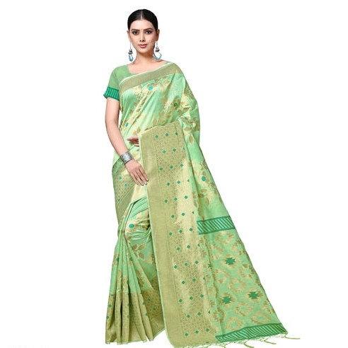 Fascinating Ikkat Weaved Banarasi Saree - Light Green
