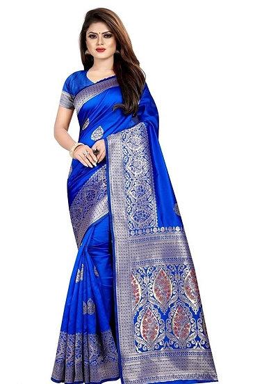Wondrous Banarasi Art Silk Saree Blue Color