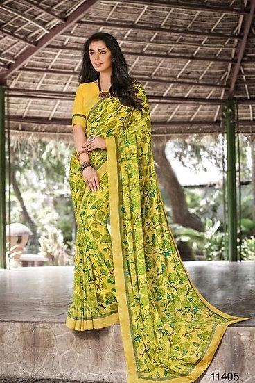 Dazzling Premium Georgette Saree - Yellow Green