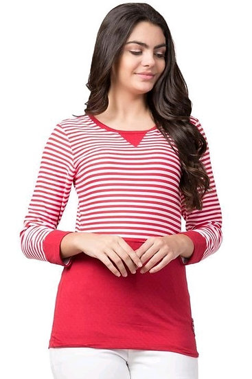 Gracious Stiped HB Cotton Jersey T-shirt - Red
