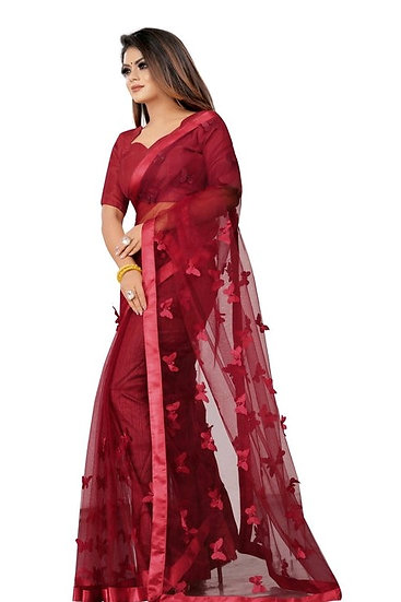 Wondroous Soft Net Saree With Butterfly Concept - Maroon
