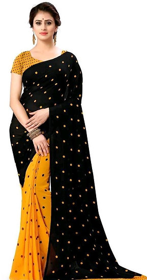 Comely Polka Print Georgette Saree - Black & Yellow