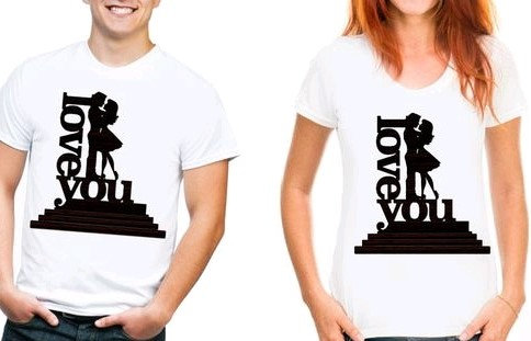 "Comely Couple Tshirts ""Love You"" - White"