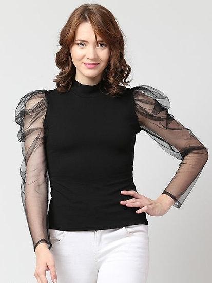 Gracious Premium Cotton Designer Top - Black