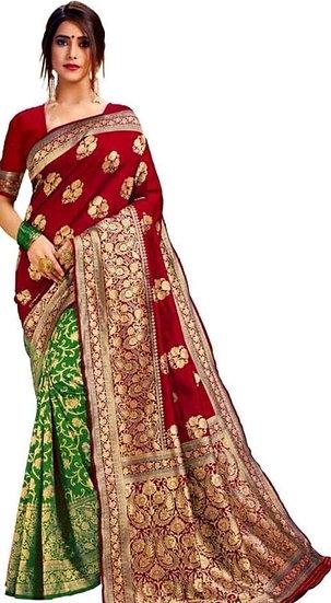 Fascinating  Banarasi Dual Color Pattern Silk Saree - Red & Green